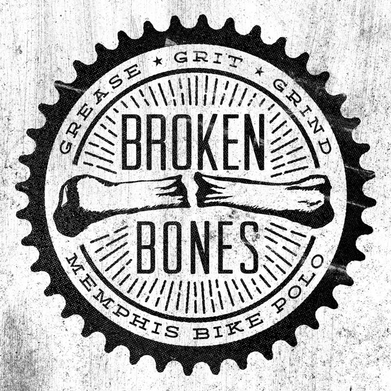 Broken Bones Memphis Bike Polo Logo Textured