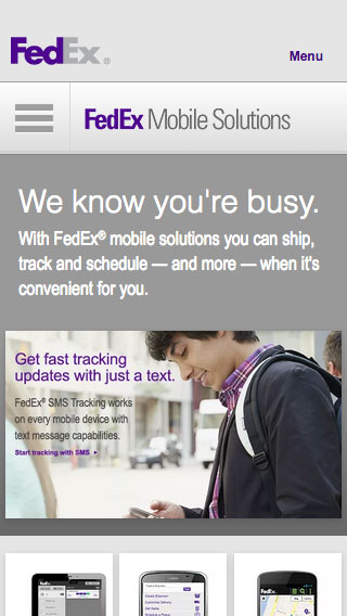 FedEx Mobile Solutions Web Page Design