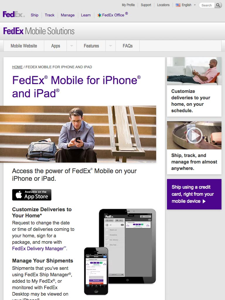 FedEx Mobile Solutions Mobile Web Page Design
