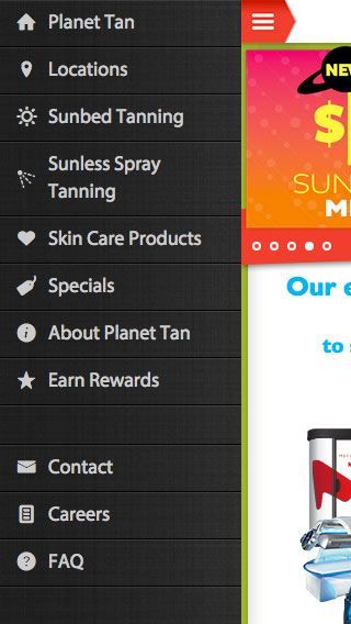Planet Tan - Website Responsive Menu Design mobile