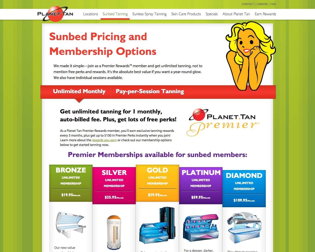 Planet Tan Pricing Page - Website Responsive Design desktop