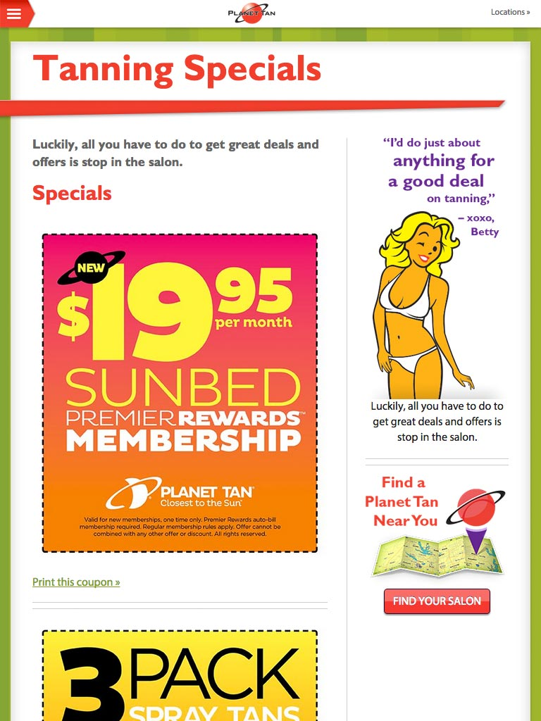 Planet Tan Specials Page - Website Responsive Design tablet